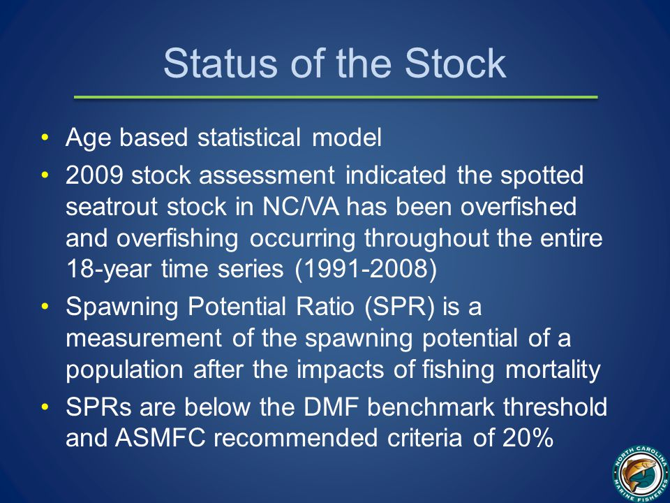Status of the Stock Age based statistical model 2009 stock assessment indicated the spotted seatrout stock in NC/VA has been overfished and overfishing occurring throughout the entire 18-year time series (1991-2008) Spawning Potential Ratio (SPR) is a measurement of the spawning potential of a population after the impacts of fishing mortality SPRs are below the DMF benchmark threshold and ASMFC recommended criteria of 20%