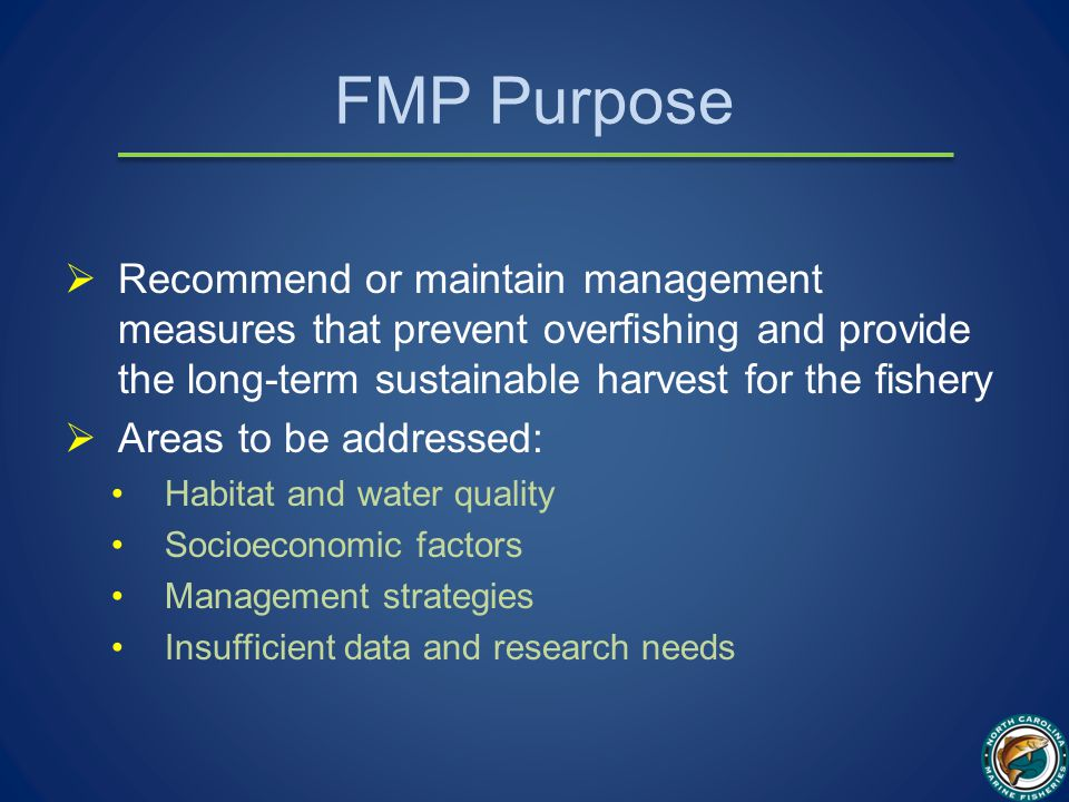FMP Purpose  Recommend or maintain management measures that prevent overfishing and provide the long-term sustainable harvest for the fishery  Areas to be addressed: Habitat and water quality Socioeconomic factors Management strategies Insufficient data and research needs