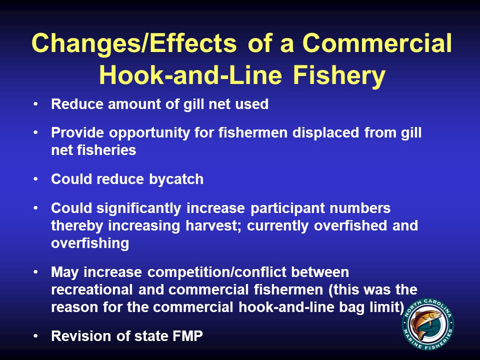 Changes/Effects of a Commercial Hook-and-Line Fishery Reduce amount of gill net used Provide opportunity for fishermen displaced from gill net fisheries Could reduce bycatch Could significantly increase participant numbers thereby increasing harvest; currently overfished and overfishing May increase competition/conflict between recreational and commercial fishermen (this was the reason for the commercial hook-and-line bag limit) Revision of state FMP
