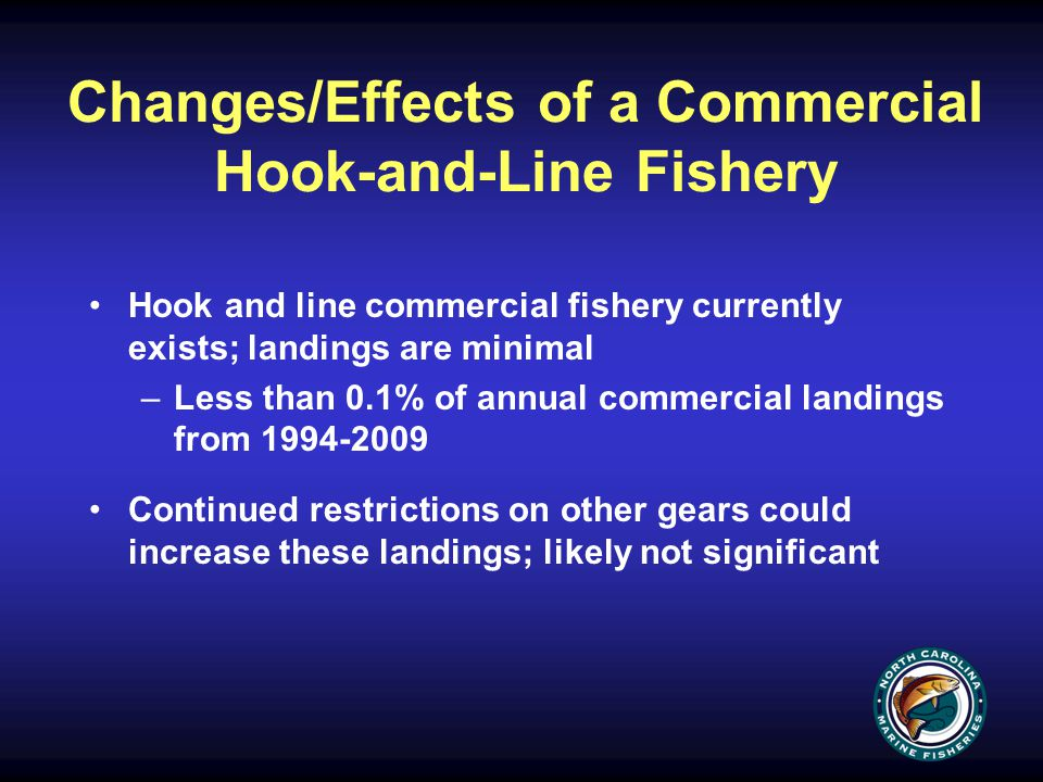 Changes/Effects of a Commercial Hook-and-Line Fishery Hook and line commercial fishery currently exists; landings are minimal –Less than 0.1% of annual commercial landings from 1994-2009 Continued restrictions on other gears could increase these landings; likely not significant