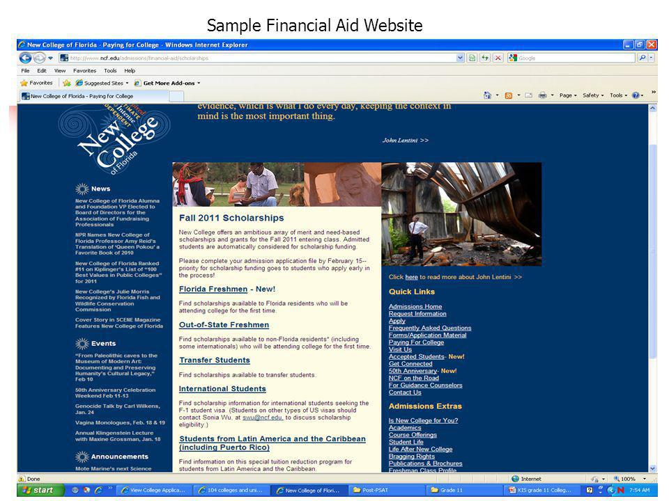 Sample Financial Aid Website