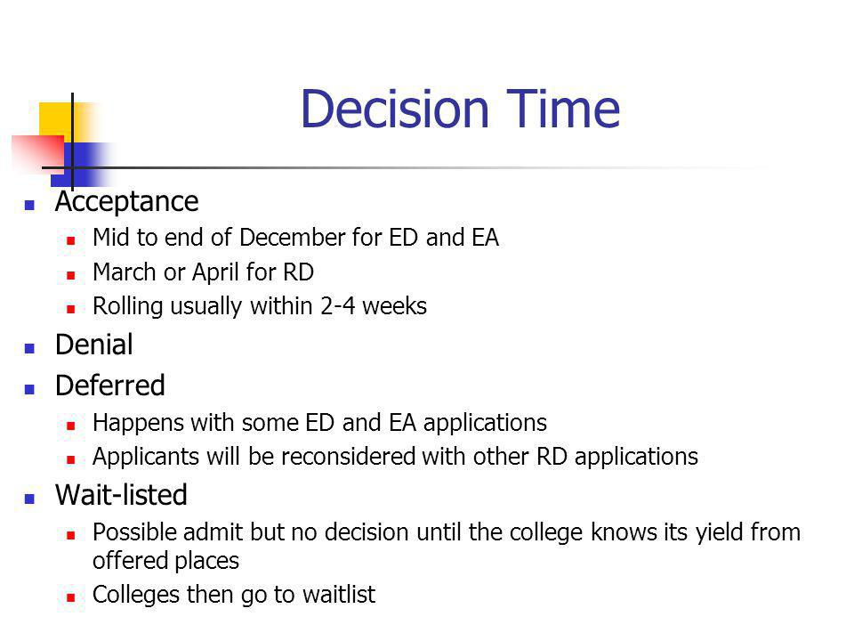 Decision Time Acceptance Mid to end of December for ED and EA March or April for RD Rolling usually within 2-4 weeks Denial Deferred Happens with some ED and EA applications Applicants will be reconsidered with other RD applications Wait-listed Possible admit but no decision until the college knows its yield from offered places Colleges then go to waitlist