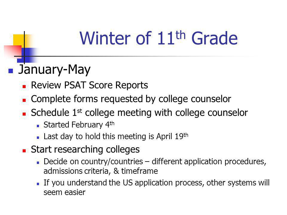 Winter of 11 th Grade January-May Review PSAT Score Reports Complete forms requested by college counselor Schedule 1 st college meeting with college counselor Started February 4 th Last day to hold this meeting is April 19 th Start researching colleges Decide on country/countries – different application procedures, admissions criteria, & timeframe If you understand the US application process, other systems will seem easier