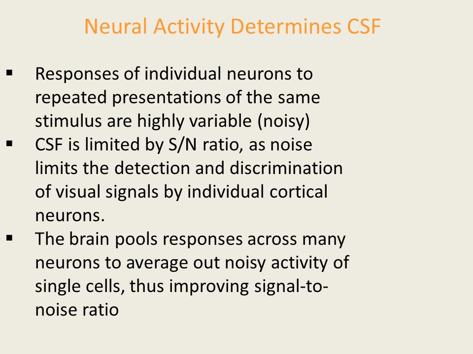 Neural Activity Determines CSF  Responses of individual neurons to repeated presentations of the same stimulus are highly variable (noisy)  CSF is l