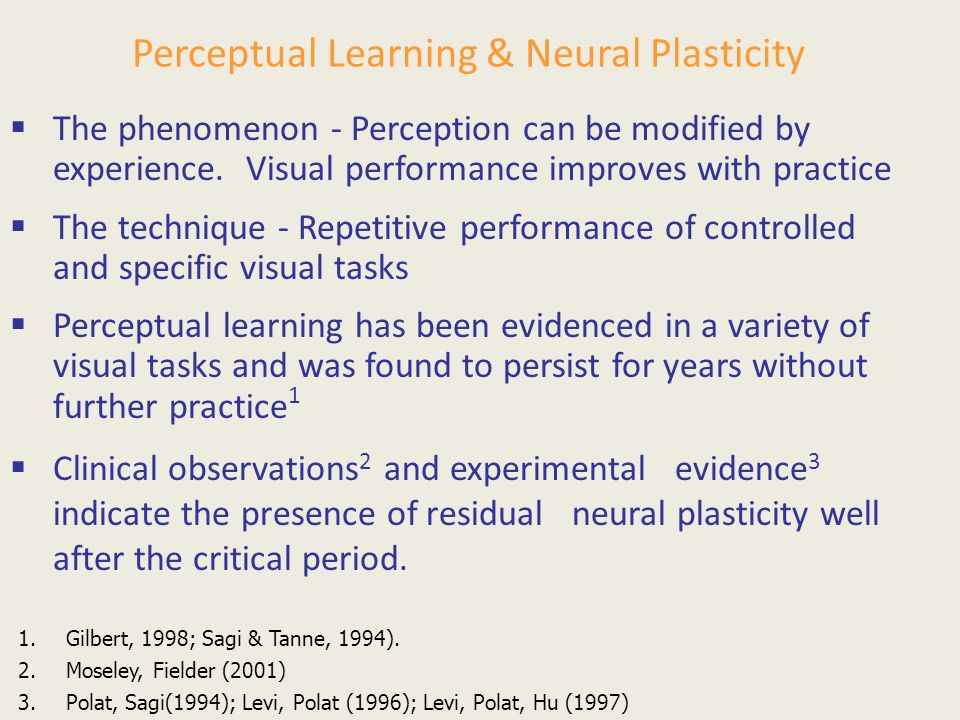 Perceptual Learning & Neural Plasticity  The phenomenon - Perception can be modified by experience. Visual performance improves with practice  The t