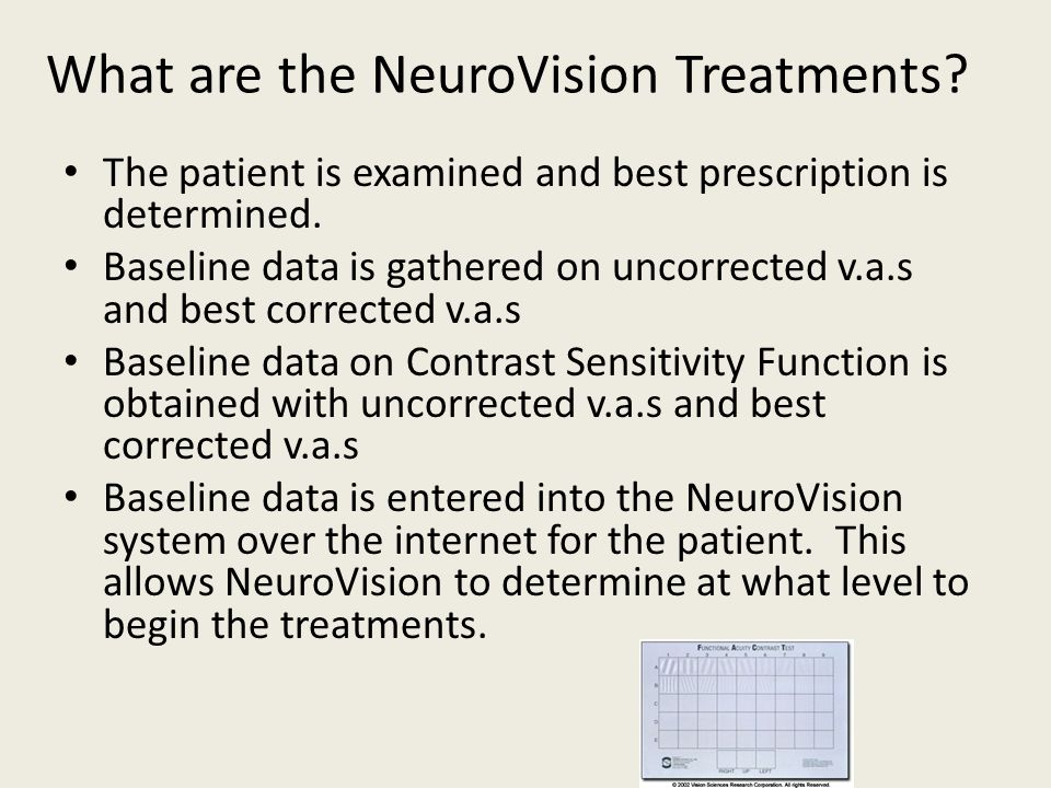 What are the NeuroVision Treatments? The patient is examined and best prescription is determined. Baseline data is gathered on uncorrected v.a.s and b