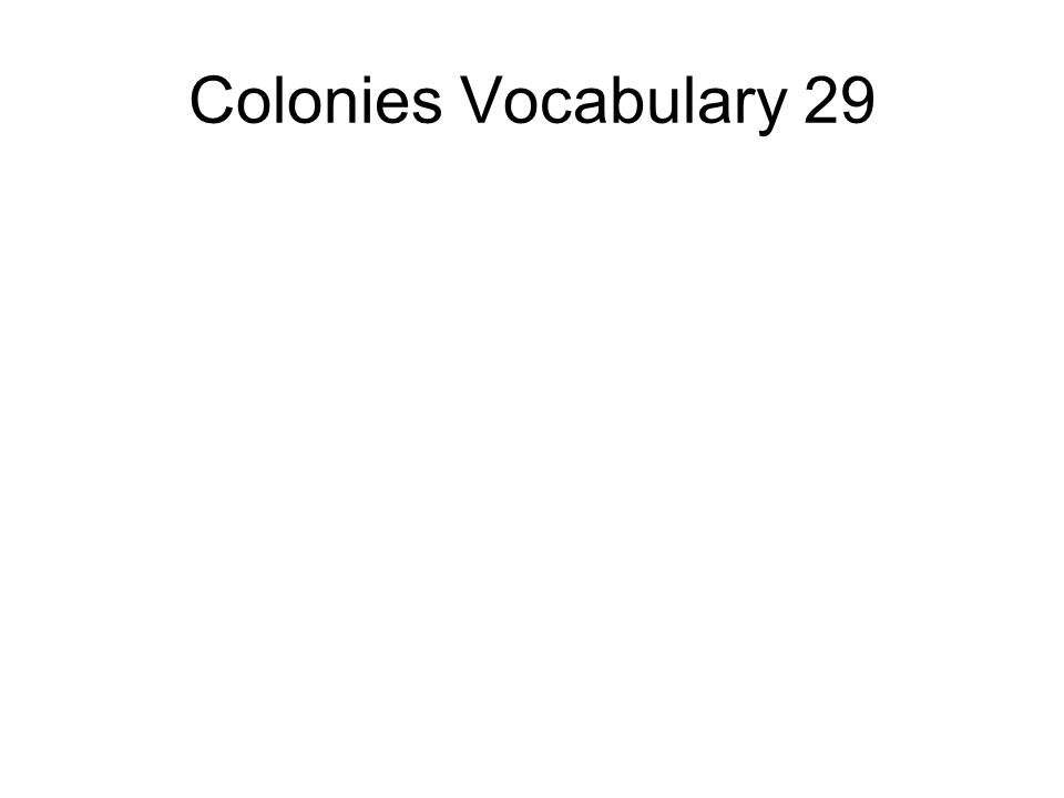 Colonies Vocabulary 29