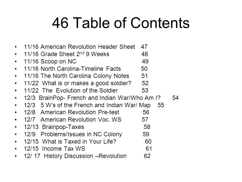 46 Table of Contents 11/16 American Revolution Header Sheet 47 11/16 Grade Sheet 2 nd 9 Weeks 48 11/16 Scoop on NC 49 11/16 North Carolina-Timeline Fa