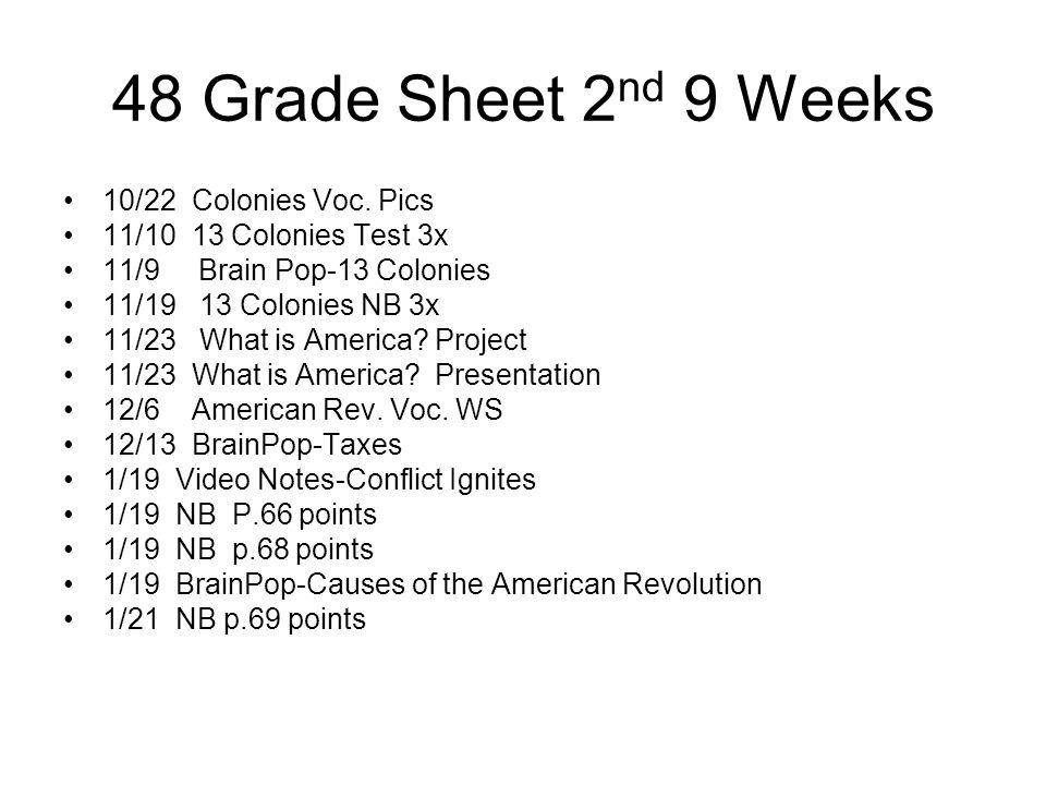 48 Grade Sheet 2 nd 9 Weeks 10/22 Colonies Voc. Pics 11/10 13 Colonies Test 3x 11/9 Brain Pop-13 Colonies 11/19 13 Colonies NB 3x 11/23 What is Americ