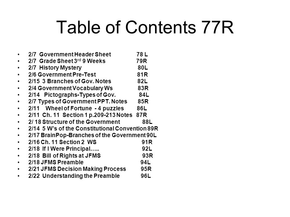 Table of Contents 77R 2/7 Government Header Sheet 78 L 2/7 Grade Sheet 3 rd 9 Weeks 79R 2/7 History Mystery 80L 2/6 Government Pre-Test 81R 2/15 3 Bra