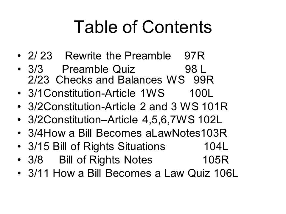 Table of Contents 2/ 23 Rewrite the Preamble 97R 3/3 Preamble Quiz 98 L 2/23 Checks and Balances WS 99R 3/1Constitution-Article 1WS 100L 3/2Constituti