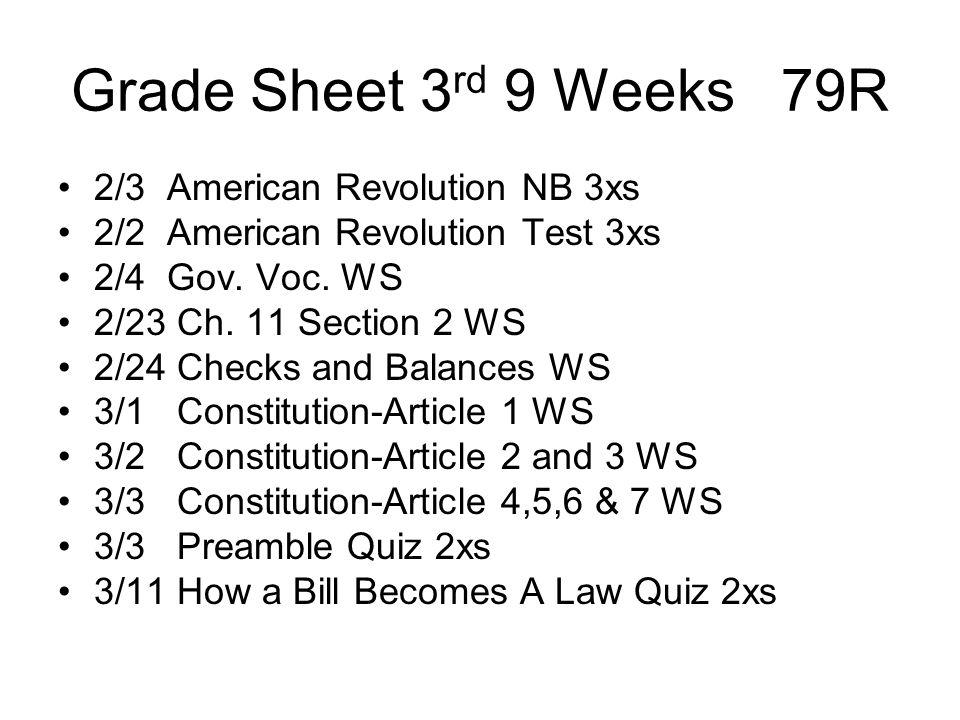 Grade Sheet 3 rd 9 Weeks 79R 2/3 American Revolution NB 3xs 2/2 American Revolution Test 3xs 2/4 Gov. Voc. WS 2/23 Ch. 11 Section 2 WS 2/24 Checks and