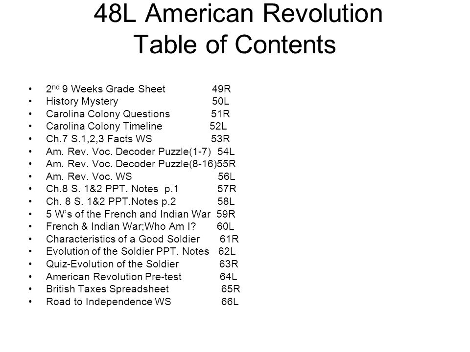 48L American Revolution Table of Contents 2 nd 9 Weeks Grade Sheet 49R History Mystery 50L Carolina Colony Questions 51R Carolina Colony Timeline 52L