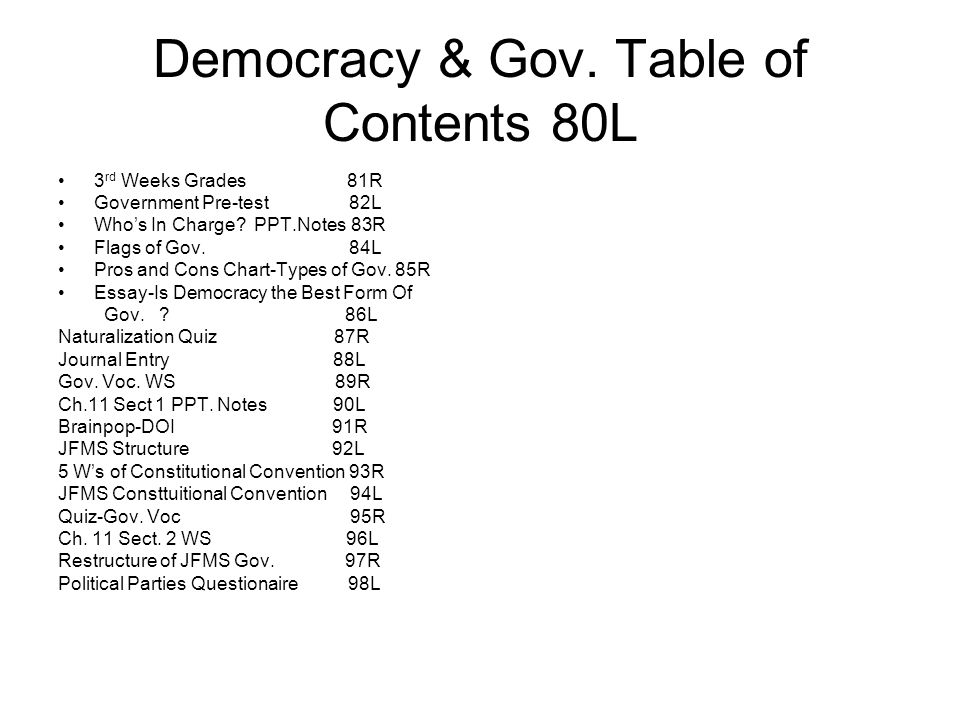 Democracy & Gov. Table of Contents 80L 3 rd Weeks Grades 81R Government Pre-test 82L Who's In Charge? PPT.Notes 83R Flags of Gov. 84L Pros and Cons Ch