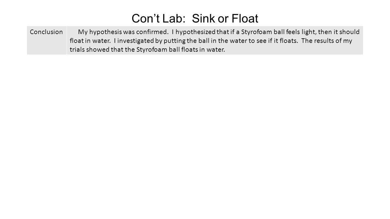 Con't Lab: Sink or Float Conclusion My hypothesis was confirmed. I hypothesized that if a Styrofoam ball feels light, then it should float in water. I