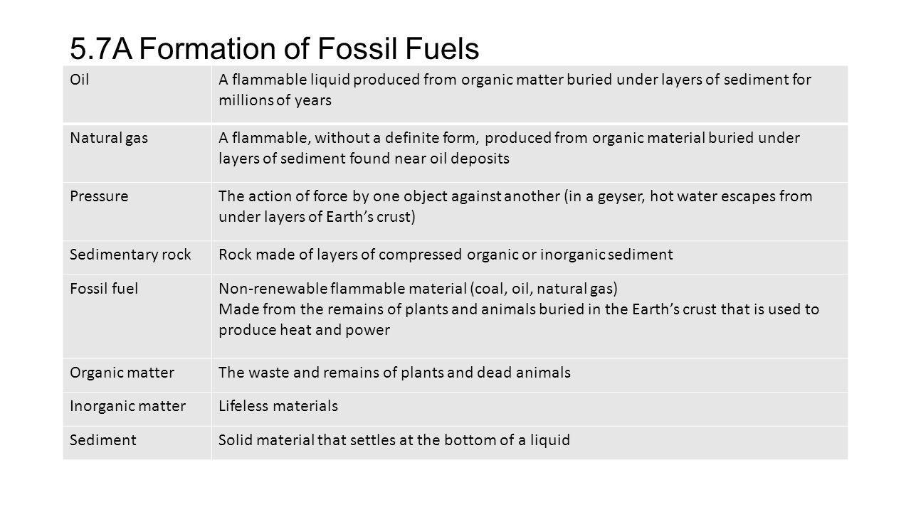 5.7A Formation of Fossil Fuels OilA flammable liquid produced from organic matter buried under layers of sediment for millions of years Natural gasA f