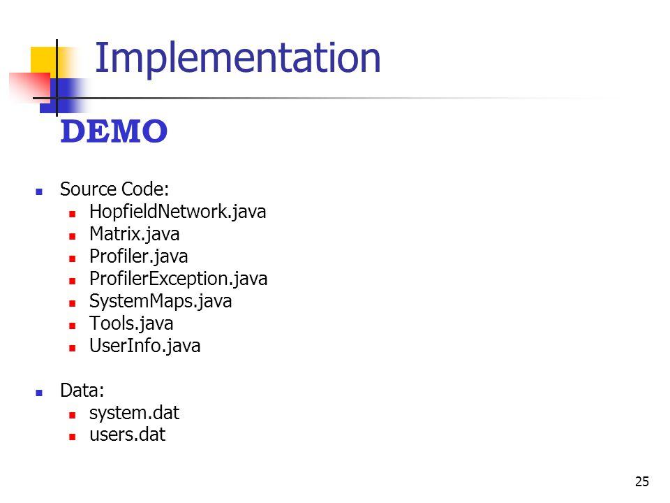 25 Implementation DEMO Source Code: HopfieldNetwork.java Matrix.java Profiler.java ProfilerException.java SystemMaps.java Tools.java UserInfo.java Dat