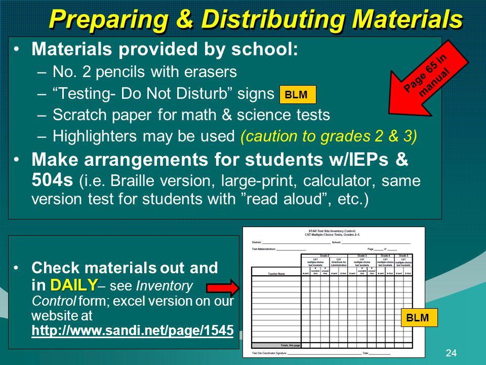 24 Preparing & Distributing Materials Materials provided by school: –No.