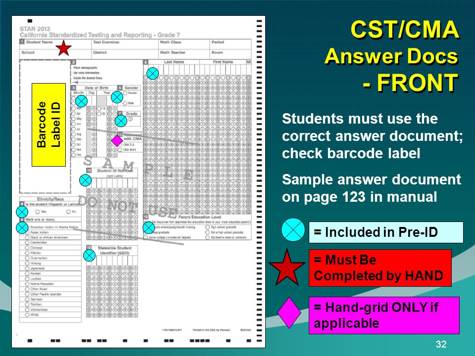 32 CST/CMA Answer Docs - FRONT = Must Be Completed by HAND = Included in Pre-ID Students must use the correct answer document; check barcode label Sample answer document on page 123 in manual = Hand-grid ONLY if applicable Barcode Label ID