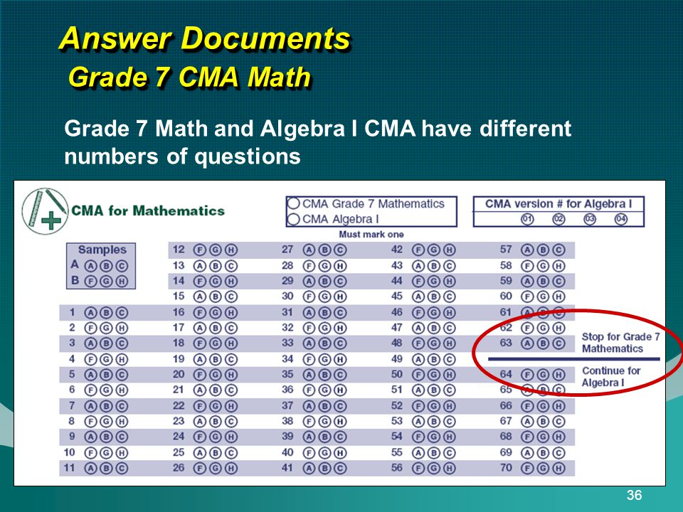 36 Answer Documents Grade 7 CMA Math Grade 7 Math and Algebra I CMA have different numbers of questions