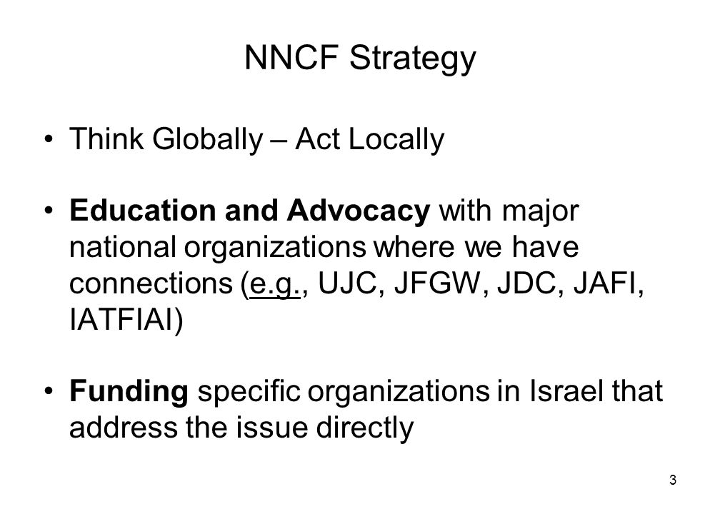 3 NNCF Strategy Think Globally – Act Locally Education and Advocacy with major national organizations where we have connections (e.g., UJC, JFGW, JDC, JAFI, IATFIAI) Funding specific organizations in Israel that address the issue directly