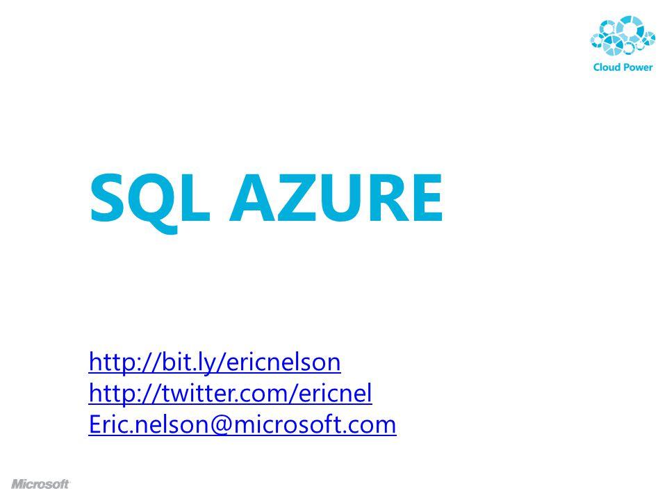 SQL AZURE Eric Nelson Application Architect, Microsoft http://bit.ly/ericnelsonhttp://bit.ly/ericnelson | http://twitter.com/ericnel http://twitter.com/ericnel Eric.nelson@microsoft.com