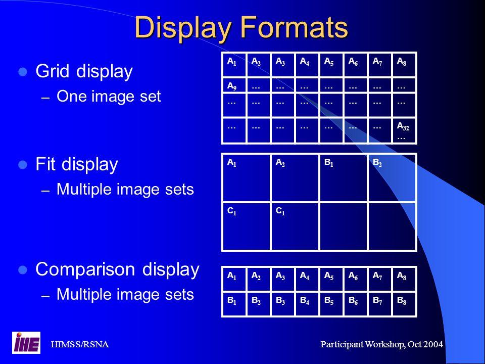 HIMSS/RSNAParticipant Workshop, Oct 2004 Display Formats Grid display – One image set A1A1 A2A2 A3A3 A4A4 A5A5 A6A6 A7A7 A8A8 A9A9 ………………… …………………… …………………A 32 … A1A1 A2A2 A3A3 A4A4 A5A5 A6A6 A7A7 A8A8 B1B1 B2B2 B3B3 B4B4 B5B5 B6B6 B7B7 B8B8 A1A1 A2A2 B1B1 B2B2 C1C1 C1C1 Fit display – Multiple image sets Comparison display – Multiple image sets
