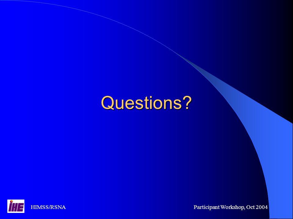 HIMSS/RSNAParticipant Workshop, Oct 2004 Questions