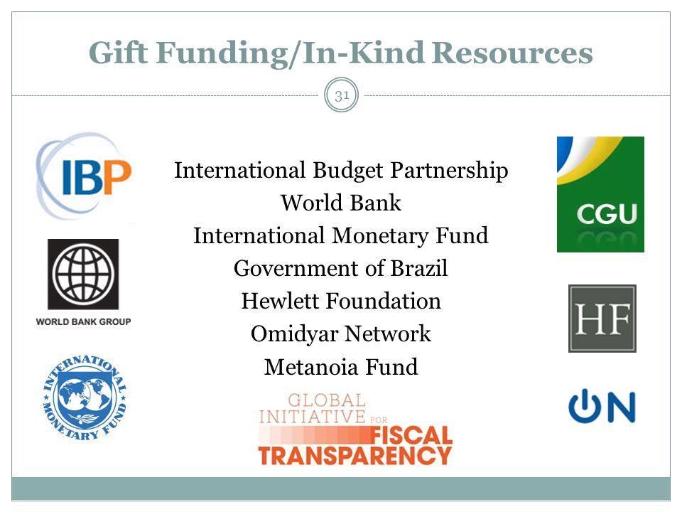 Gift Funding/In-Kind Resources 31 International Budget Partnership World Bank International Monetary Fund Government of Brazil Hewlett Foundation Omidyar Network Metanoia Fund
