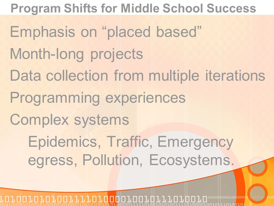 Program Shifts for Middle School Success Emphasis on placed based Month-long projects Data collection from multiple iterations Programming experiences Complex systems Epidemics, Traffic, Emergency egress, Pollution, Ecosystems.