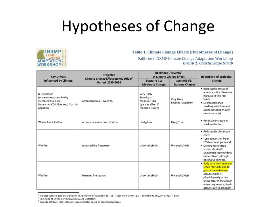 Hypotheses of Change