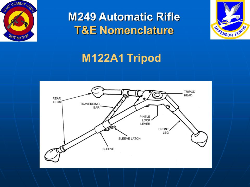 M249 Automatic Rifle T&E Nomenclature M122A1 Tripod