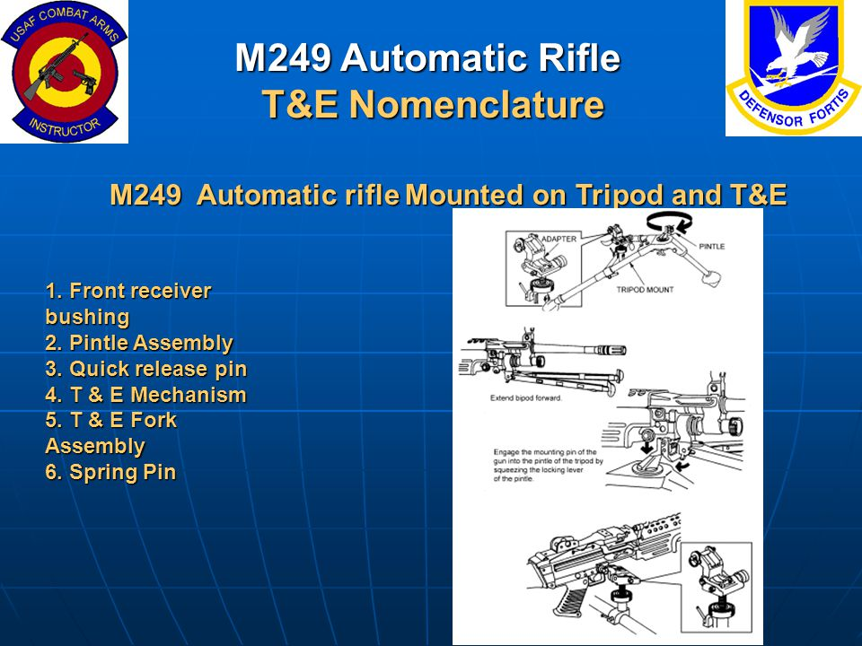M249 Automatic Rifle T&E Nomenclature M249 Automatic rifle Mounted on Tripod and T&E 1. Front receiver bushing 2. Pintle Assembly 3. Quick release pin
