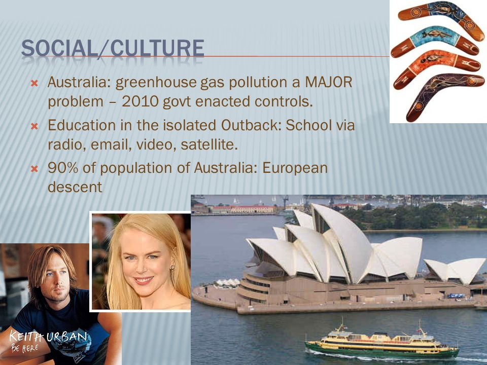  Australia: greenhouse gas pollution a MAJOR problem – 2010 govt enacted controls.  Education in the isolated Outback: School via radio, email, vide