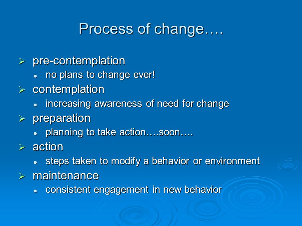 Process of change….  pre-contemplation no plans to change ever.