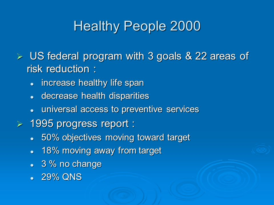 Healthy People 2000  US federal program with 3 goals & 22 areas of risk reduction : increase healthy life span increase healthy life span decrease health disparities decrease health disparities universal access to preventive services universal access to preventive services  1995 progress report : 50% objectives moving toward target 50% objectives moving toward target 18% moving away from target 18% moving away from target 3 % no change 3 % no change 29% QNS 29% QNS