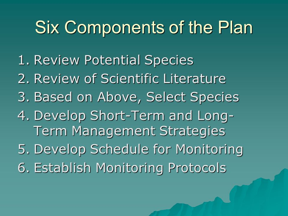 Six Components of the Plan 1.Review Potential Species 2.Review of Scientific Literature 3.Based on Above, Select Species 4.Develop Short-Term and Long- Term Management Strategies 5.Develop Schedule for Monitoring 6.Establish Monitoring Protocols