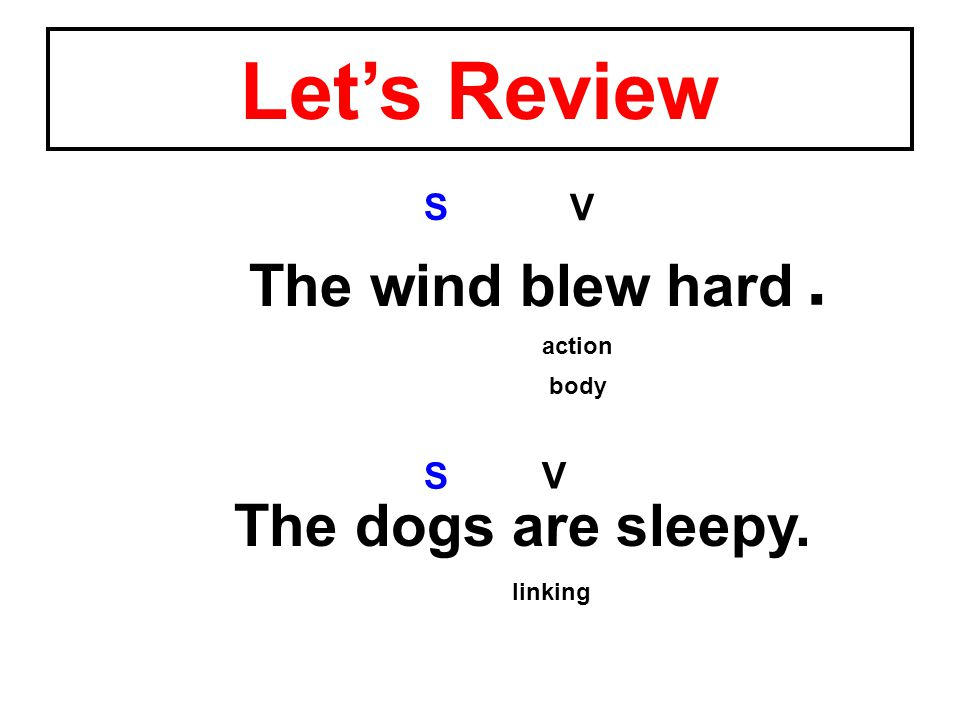 The dogs are sleepy. V S The wind blew hard V S action linking body. Let's Review