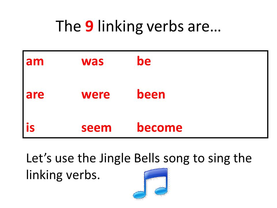 The 9 linking verbs are… amwasbe arewerebeen is seembecome Let's use the Jingle Bells song to sing the linking verbs.