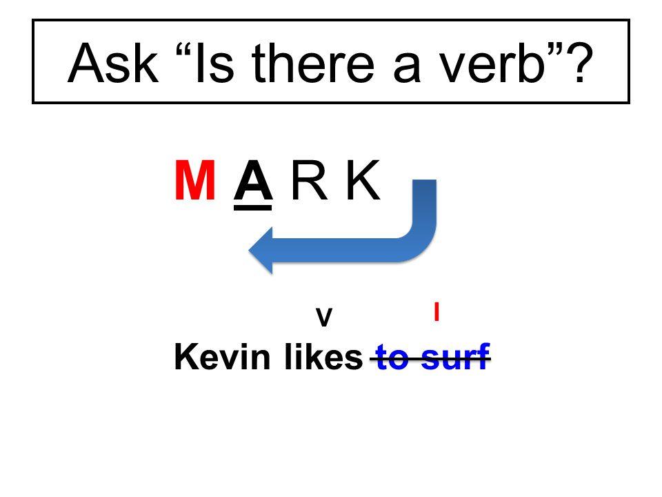M A R K I Kevin likes to surf Ask Is there a verb V