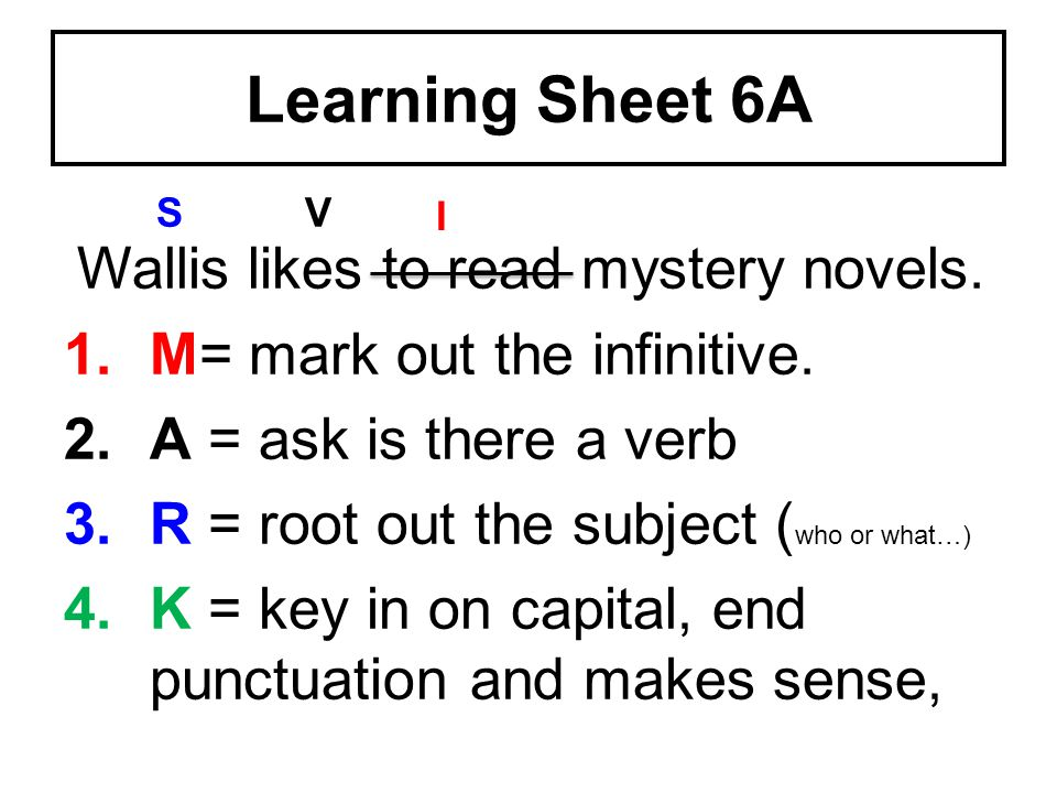 Learning Sheet 6A Wallis likes to read mystery novels.