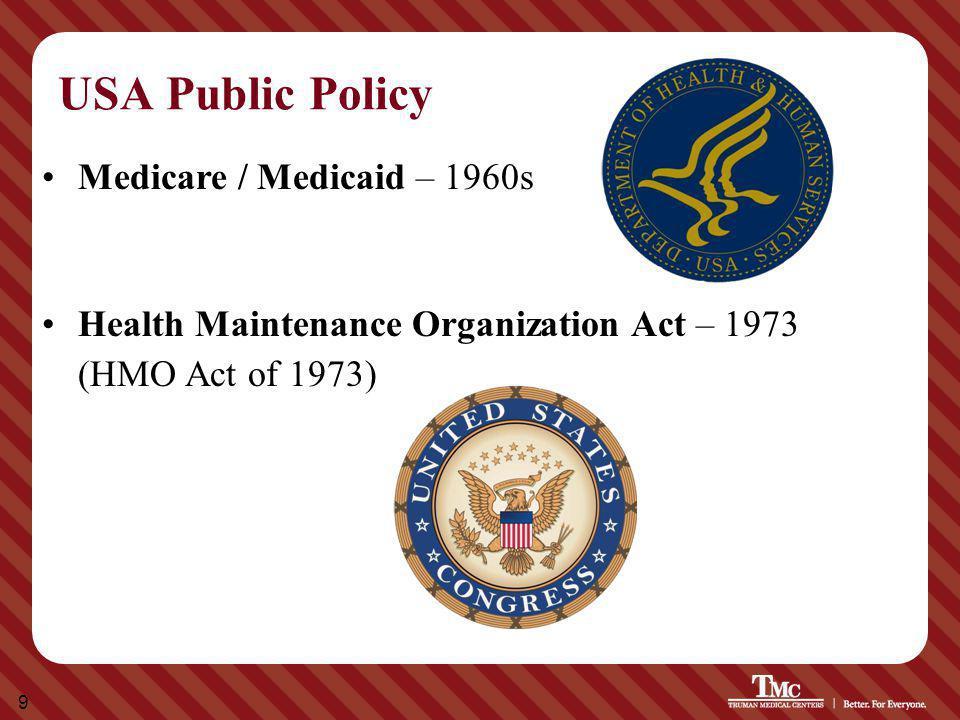 9 USA Public Policy Medicare / Medicaid – 1960s Health Maintenance Organization Act – 1973 (HMO Act of 1973)