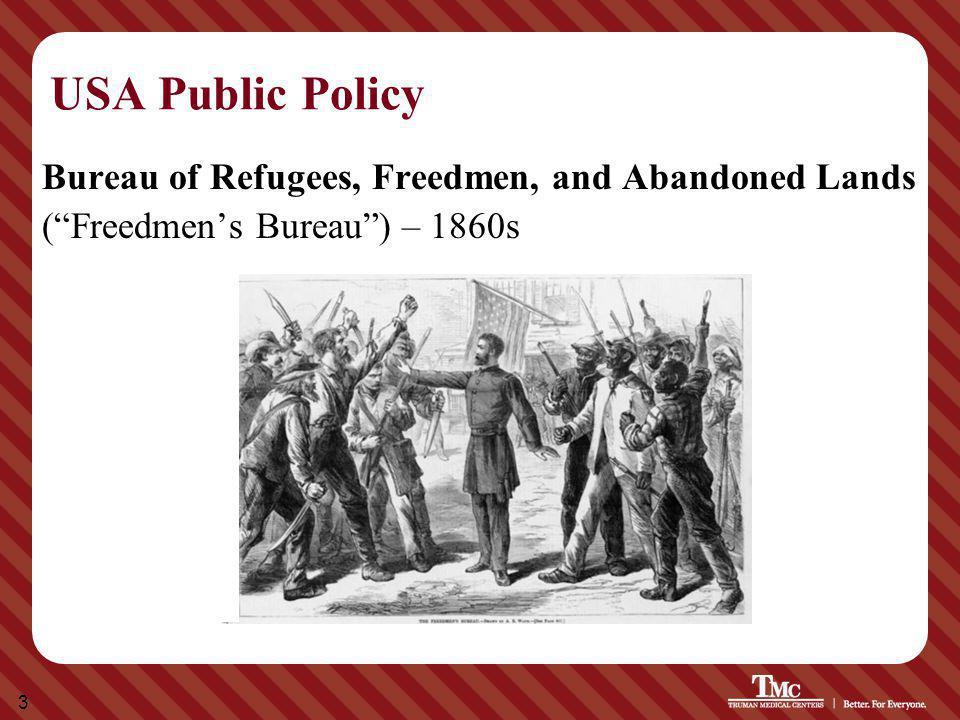 """3 USA Public Policy Bureau of Refugees, Freedmen, and Abandoned Lands (""""Freedmen's Bureau"""") – 1860s"""