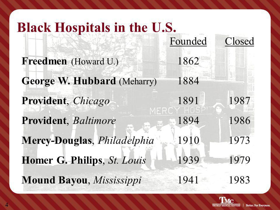 4 Black Hospitals in the U.S. FoundedClosed Freedmen (Howard U.) 1862 George W. Hubbard (Meharry) 1884 Provident, Chicago18911987 Provident, Baltimore