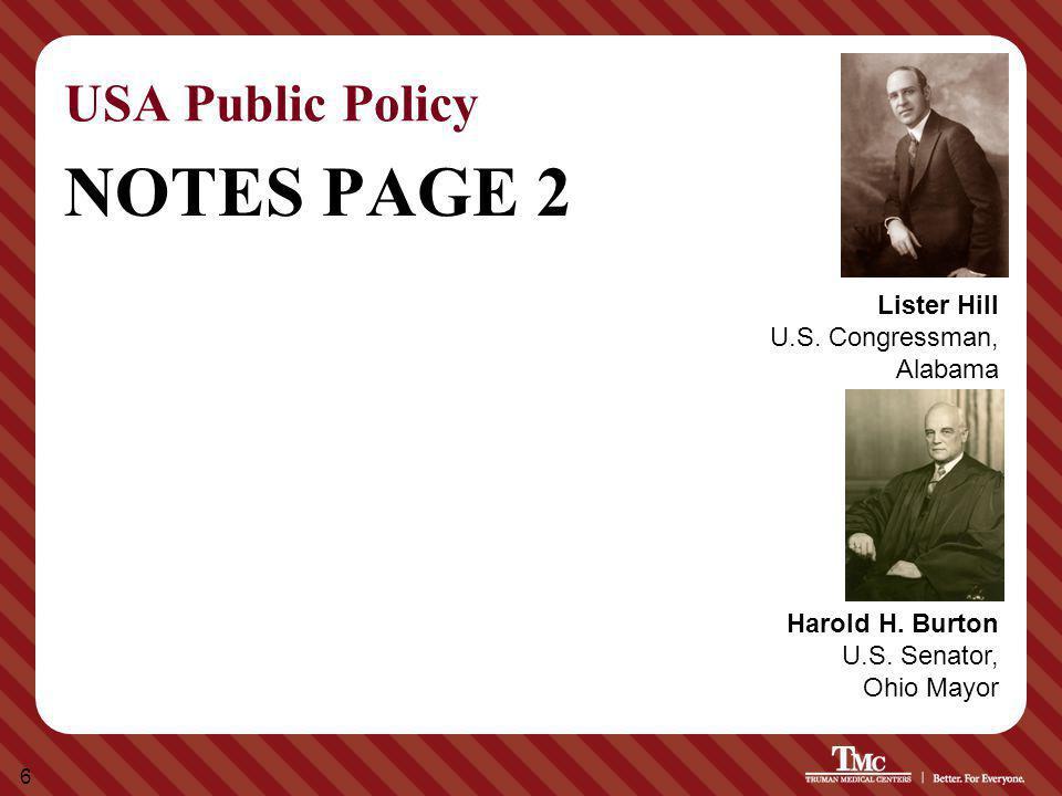 6 USA Public Policy NOTES PAGE 2 Harold H. Burton U.S. Senator, Ohio Mayor Lister Hill U.S. Congressman, Alabama