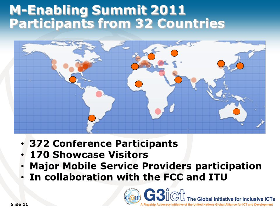 Slide 11 M-Enabling Summit 2011 Participants from 32 Countries 372 Conference Participants 170 Showcase Visitors Major Mobile Service Providers participation In collaboration with the FCC and ITU