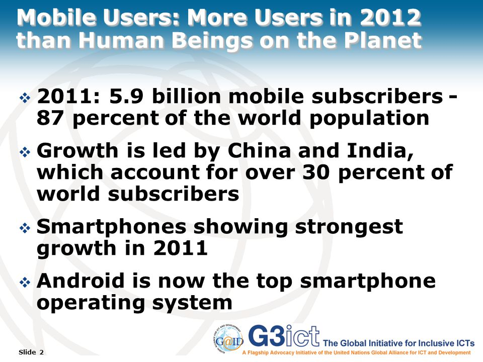 Slide 2 Mobile Users: More Users in 2012 than Human Beings on the Planet  2011: 5.9 billion mobile subscribers - 87 percent of the world population  Growth is led by China and India, which account for over 30 percent of world subscribers  Smartphones showing strongest growth in 2011  Android is now the top smartphone operating system