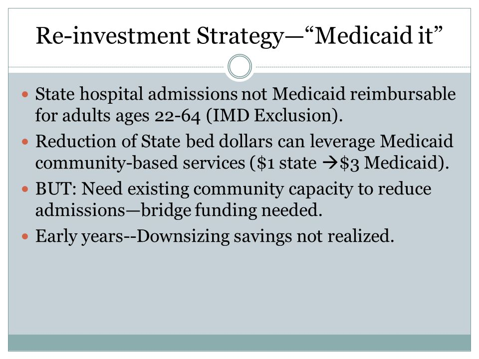 Re-investment Strategy— Medicaid it State hospital admissions not Medicaid reimbursable for adults ages 22-64 (IMD Exclusion).