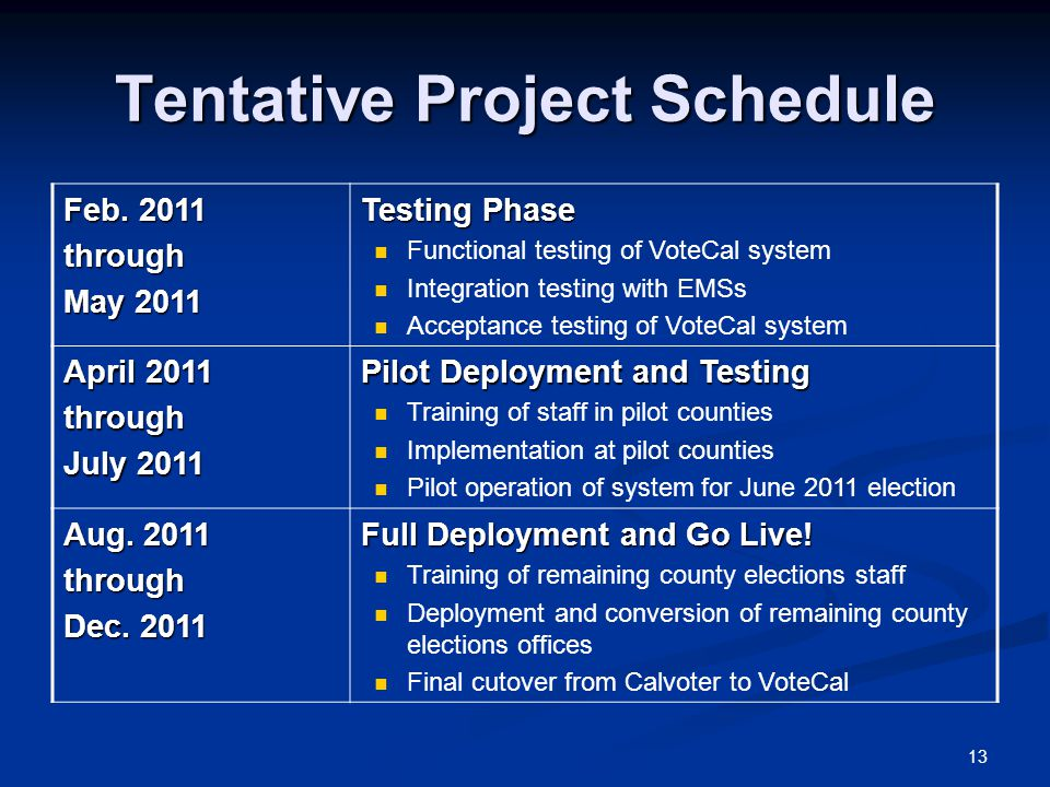 13 Tentative Project Schedule Feb.
