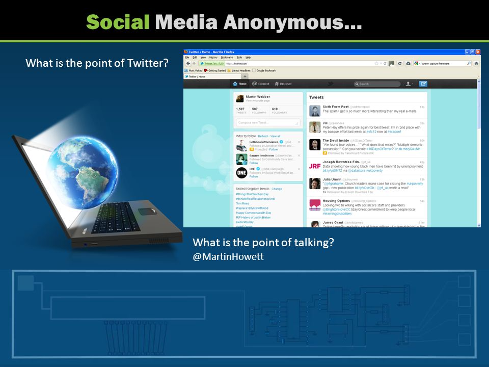 Social Media Anonymous… What is the point of Twitter? What is the point of talking? @MartinHowett